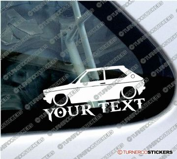 2x Lowered Audi 50 (1974-1978)  CUSTOM TEXT Classic car silhouette stickers